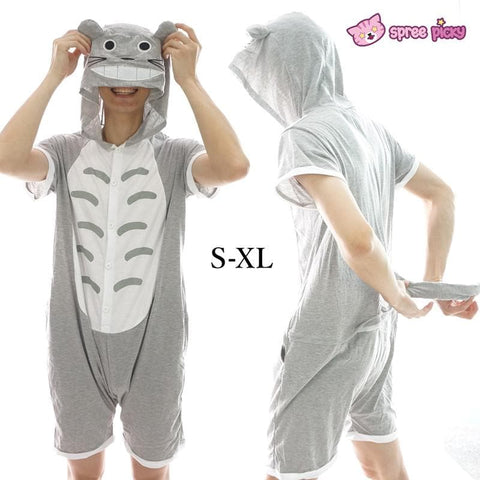 S-XL Unisex Grey Totoro Summer Jumpersuit Nightwear Pajamas SP152038