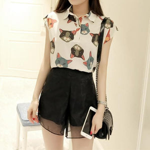 S-XL White/Grey/Black Cute Neko Cat Two-Piece Set Chiffon Top/Shorts SP166110