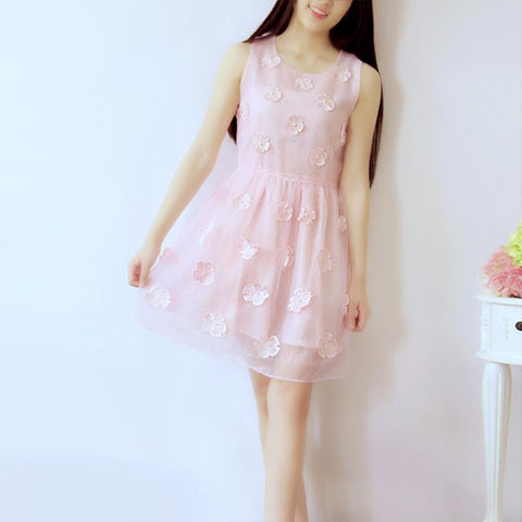 S-XL White/Pink Elegant Floral Sleeveless Dress SP166705