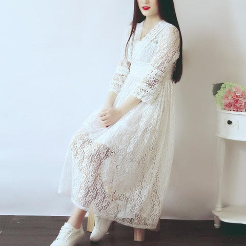 S-XL White Elegant Lace Long Sleeve Dress SP166690