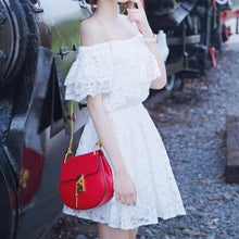 Load image into Gallery viewer, S-XL White Off-The-Shoulder Lace Dress SP166389 - SpreePicky