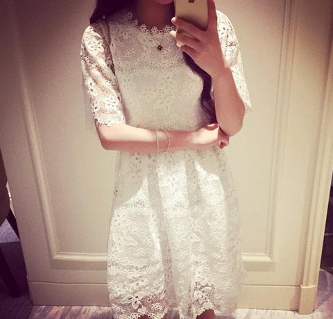 S-XL White Princess Lace Dress SP166378