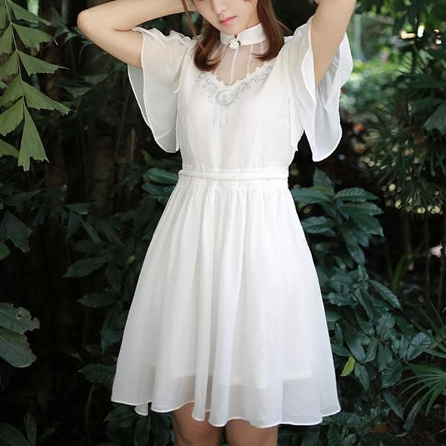 S-XL White Sailor Moon Sprite Chiffon Dress SP167179