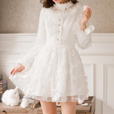 S-XL White Sweet Bodycon Princess Lace Dress SP168494