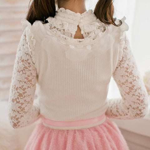 S-XL White Sweet Bowknot Long Sleeve Shirt SP168373