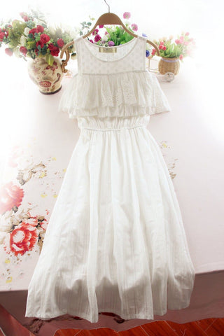 S-XL White Sweet Off-Shoulder Dress SP167400