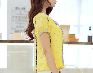 S-XL Yellow Lace Puffy Blouse SP152614 - SpreePicky  - 4