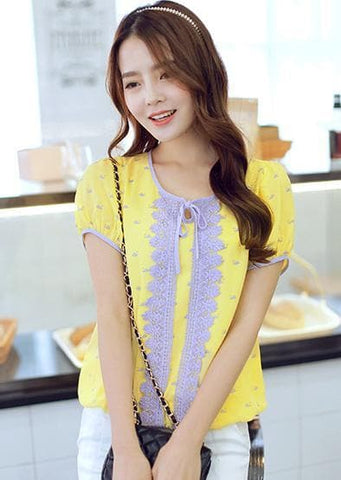 S-XL Yellow Lace Puffy Blouse SP152614 - SpreePicky  - 2