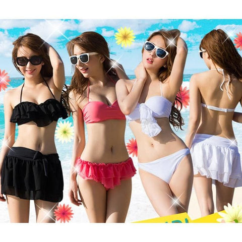 S-XXL 3 Colors Fluffy Three-piece Bikini Swimming Suit SP152488 - SpreePicky  - 1