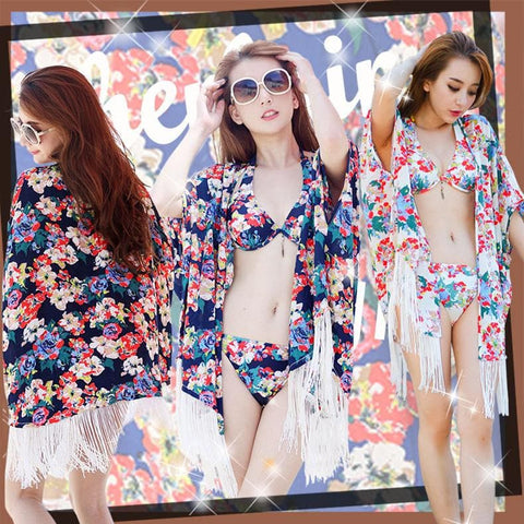 S-XXL 3 Colors Summer Floral Bikini Swimming Suit SP152492 - SpreePicky  - 1