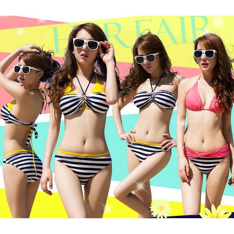 S-XXL Pink/Yellow Kawaii Stripes Bikini Swimming Suit SP152490 - SpreePicky  - 1