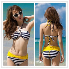 Load image into Gallery viewer, S-XXL Pink/Yellow Kawaii Stripes Bikini Swimming Suit SP152490 - SpreePicky  - 2