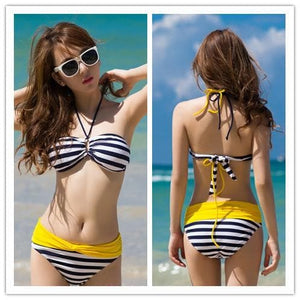 S-XXL Pink/Yellow Kawaii Stripes Bikini Swimming Suit SP152490 - SpreePicky  - 2