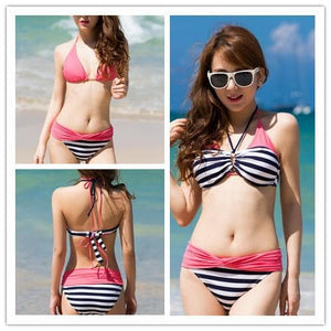 S-XXL Pink/Yellow Kawaii Stripes Bikini Swimming Suit SP152490 - SpreePicky  - 3