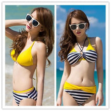 Load image into Gallery viewer, S-XXL Pink/Yellow Kawaii Stripes Bikini Swimming Suit SP152490 - SpreePicky  - 4
