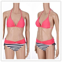Load image into Gallery viewer, S-XXL Pink/Yellow Kawaii Stripes Bikini Swimming Suit SP152490 - SpreePicky  - 5