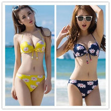 Load image into Gallery viewer, S-XXL Yellow/Navy Sun Flower Two-piece Bikini Swim Suit SP152491 - SpreePicky  - 1