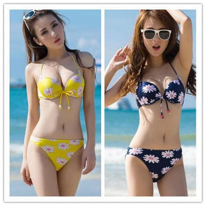 S-XXL Yellow/Navy Sun Flower Two-piece Bikini Swim Suit SP152491 - SpreePicky  - 1