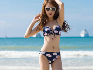 S-XXL Yellow/Navy Sun Flower Two-piece Bikini Swim Suit SP152491 - SpreePicky  - 3
