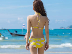 S-XXL Yellow/Navy Sun Flower Two-piece Bikini Swim Suit SP152491 - SpreePicky  - 4