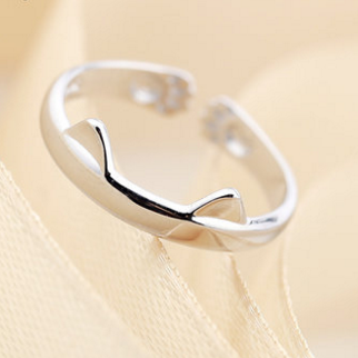 S/L Silver Kawaii Kitty Ring SP164979