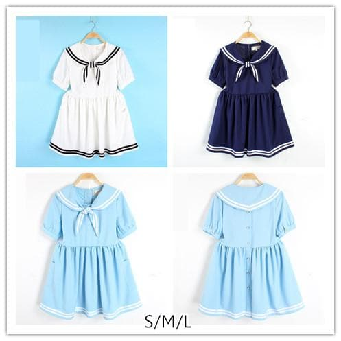 S/M/L 3 Colors Summer Stripe Sailor Dress SP152499 - SpreePicky  - 1