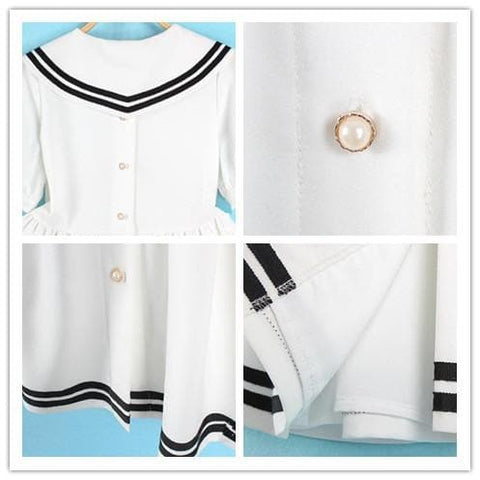 S/M/L 3 Colors Summer Stripe Sailor Dress SP152499 - SpreePicky  - 2