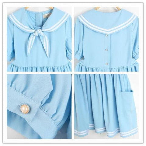 S/M/L 3 Colors Summer Stripe Sailor Dress SP152499 - SpreePicky  - 3