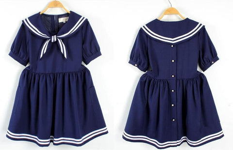 S/M/L 3 Colors Summer Stripe Sailor Dress SP152499 - SpreePicky  - 4