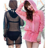 S/M/L Pink/Black Sun Protection Beach Coat SP152485 - SpreePicky  - 1