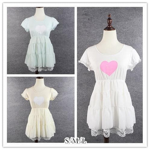 S/M/L 3 Colors Sweet Heart Ruffle Dress SP152372 - SpreePicky  - 1
