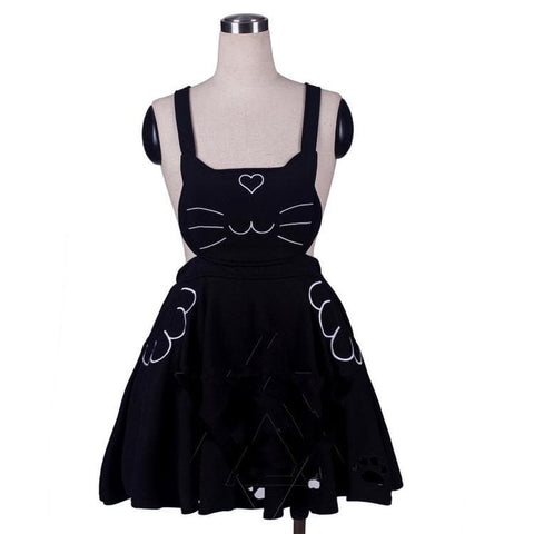 S/M/L 3 Colors Kawaii Neko Cat Lolita Bubble Suspender Dress SP168599