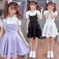 Final Stock! 3 Colors Kawaii Neko Cat Lolita Bubble Suspender Dress SP168599
