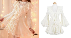 S/M/L Apricot Ruffle Sleeve Princess Dress SP153626 - SpreePicky  - 2