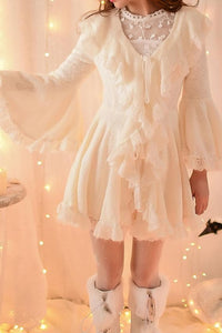 S/M/L Apricot Ruffle Sleeve Princess Dress SP153626 - SpreePicky  - 4