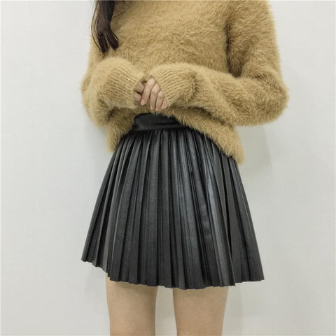 S/M/L Black/Apricot PU Skirt SP178627