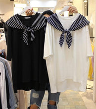 Load image into Gallery viewer, S/M/L Black/White Over Sized Sailor Summer Shirt SP152535 Kawaii Aesthetic Fashion - SpreePicky