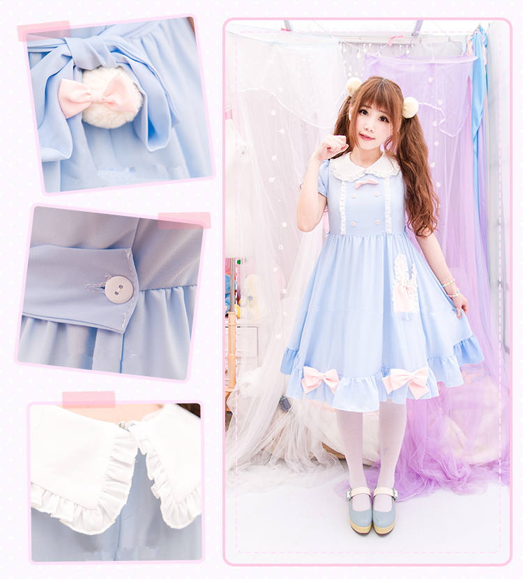 S/M/L Blue Dolly Bunny Dress SP153068 - SpreePicky  - 1