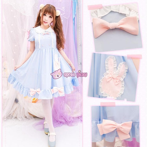 S/M/L Blue Dolly Bunny Dress SP153068 - SpreePicky  - 2