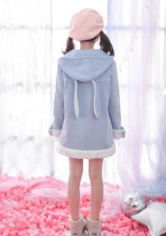 S/M/L Blue Kawaii Rabbit Embroidery Hoodie Coat SP168054