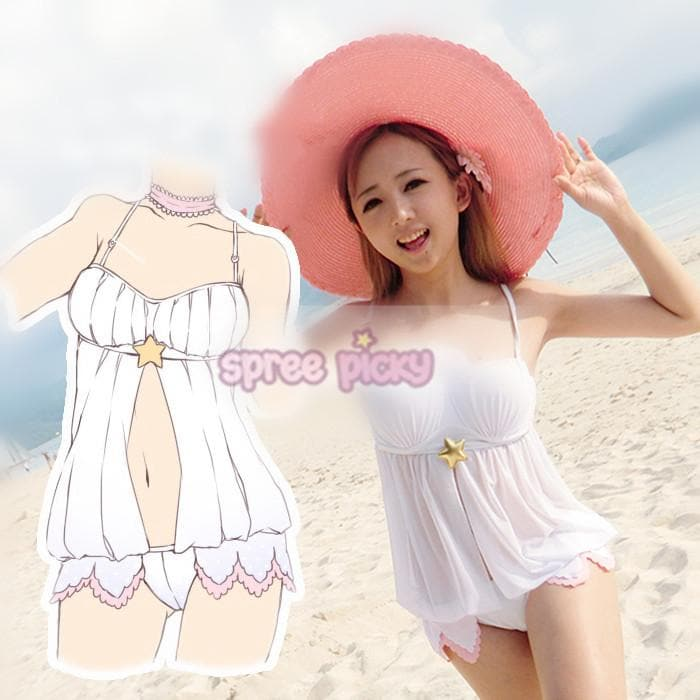 S/M/L CardCaptor Sakura White Bikini Swimsuit Underwear Set SP153790
