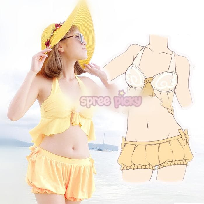 S/M/L CardCaptor Sakura Yellow Bikini Swimsuit Underwear Set SP153789