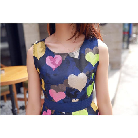 S/M/L Colorful Hearts Sleeveless Navy Dress with Big Bow on Back SP152021 - SpreePicky  - 3