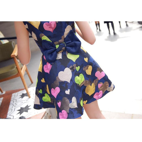 S/M/L Colorful Hearts Sleeveless Navy Dress with Big Bow on Back SP152021 - SpreePicky  - 4