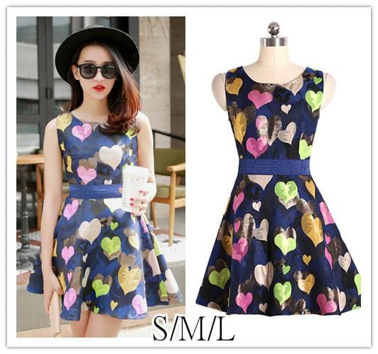 S/M/L Colorful Hearts Sleeveless Navy Dress with Big Bow on Back SP152021 - SpreePicky  - 1
