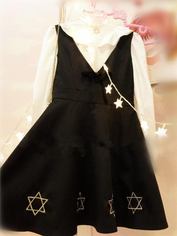 S/M/L Gothic Black Vest Dress/White Shirt SP165161