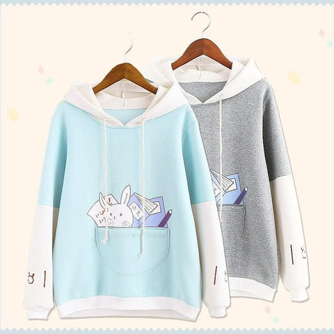 S/M/L Grey/Blue Oversized Hardworking Rabbit Hoodie Jumper SP168498
