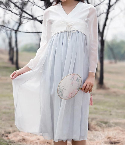 S/M/L Grey Han Chinese Clothing Dress SP166987