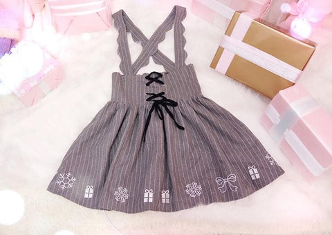 S/M/L Grey Sweet Bandage Embroidery Suspender Skirt SP165914