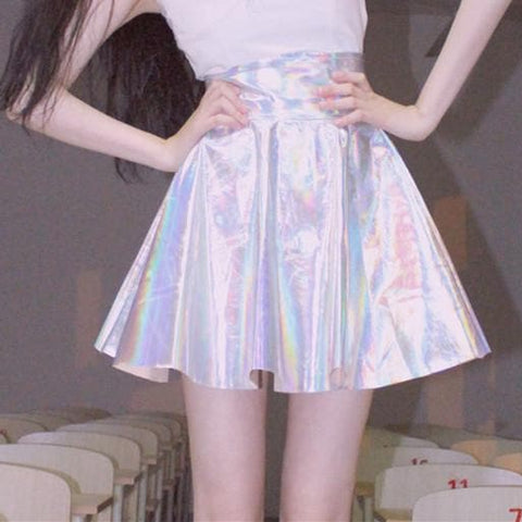S/M/L Hologram Laser Highwaist Bubble Skirt SP167008